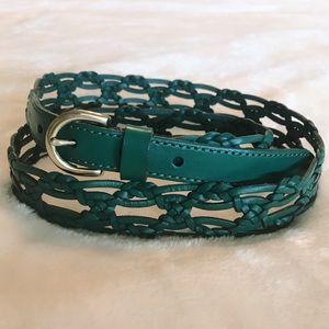 Fossil Braided/woven boho belt teal/turquoise Med.